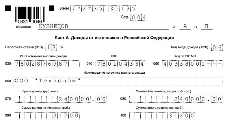 лист А - доходы от источников Российской Федерации