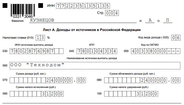 лист А. Доходы от российских источников