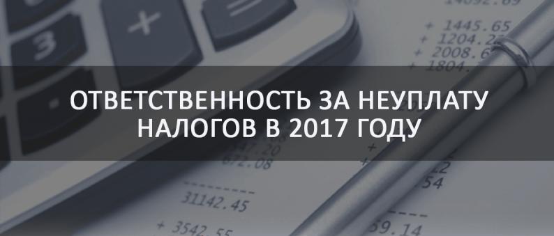 ответственность за неуплату налогов в 2017 году