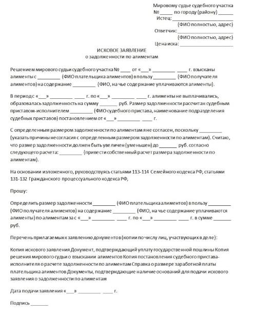 заявление о взыскании задолженности по алиментам
