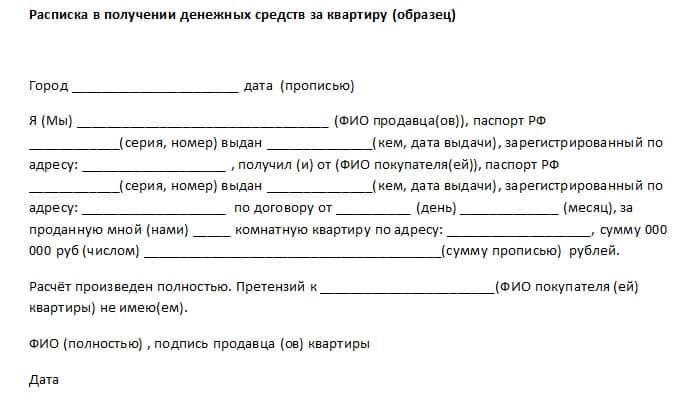 Расписка на получение денег за квартиру образец