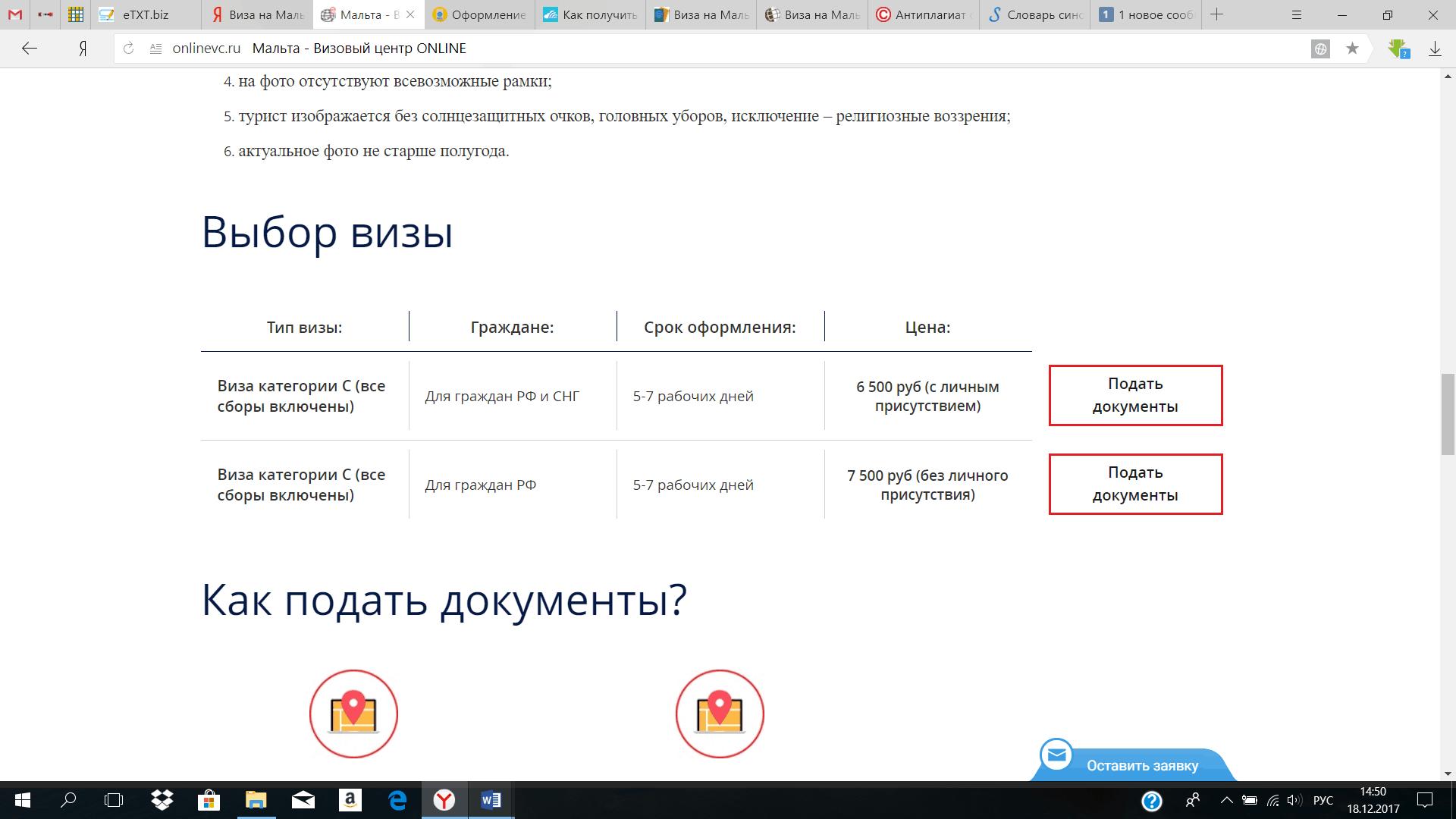 Выбор визы