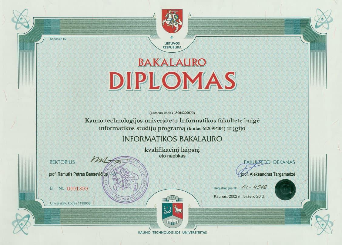 Диплом итальянского ВУЗа