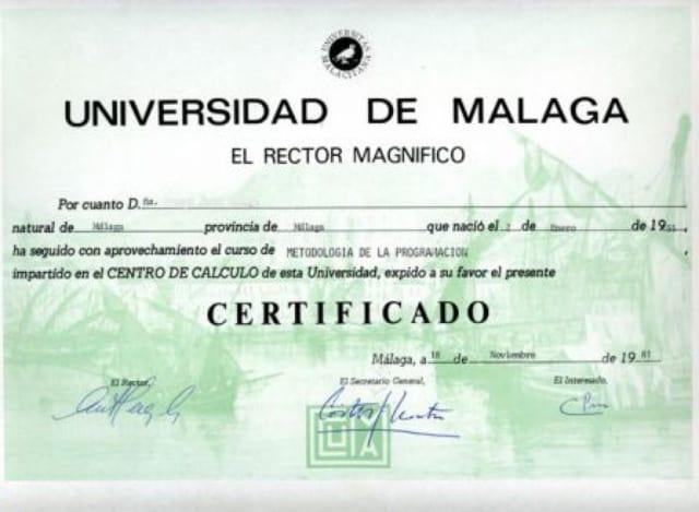 Диплом университета Испании