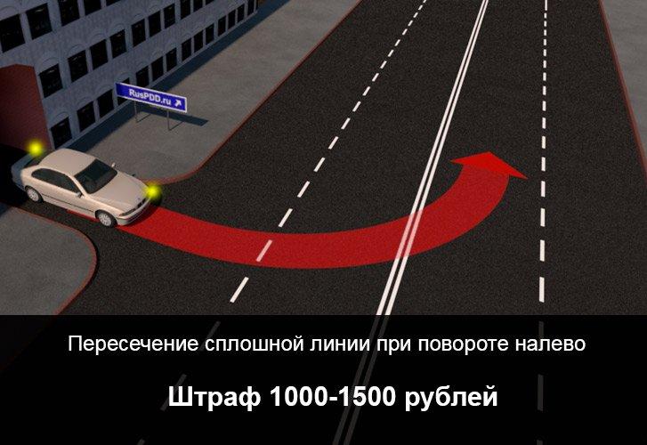 Пересечение сплошной линии разметки штраф 2019, какой штраф ГИБДД за пересечение сплошной