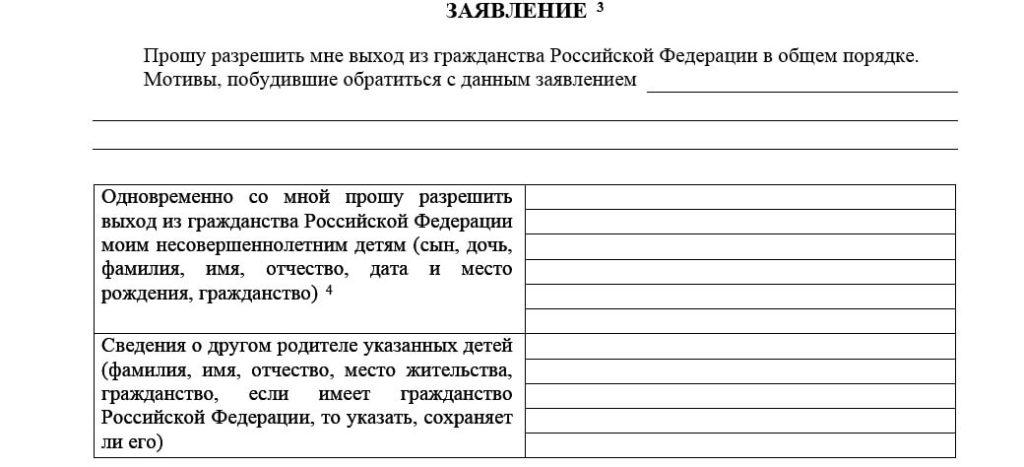 ходатайство для прекращения российского гражданства