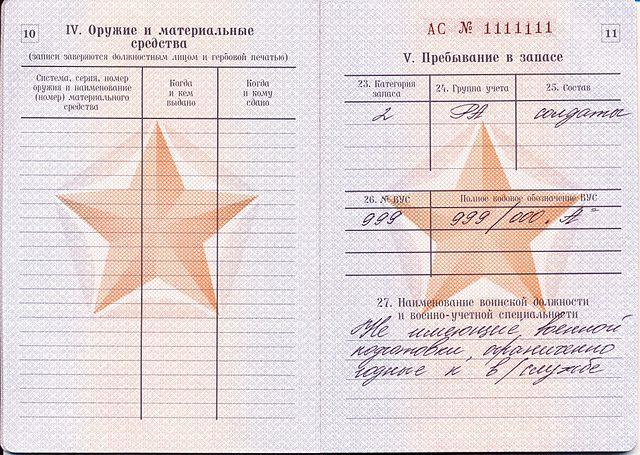 где указана группа крови в военном билете