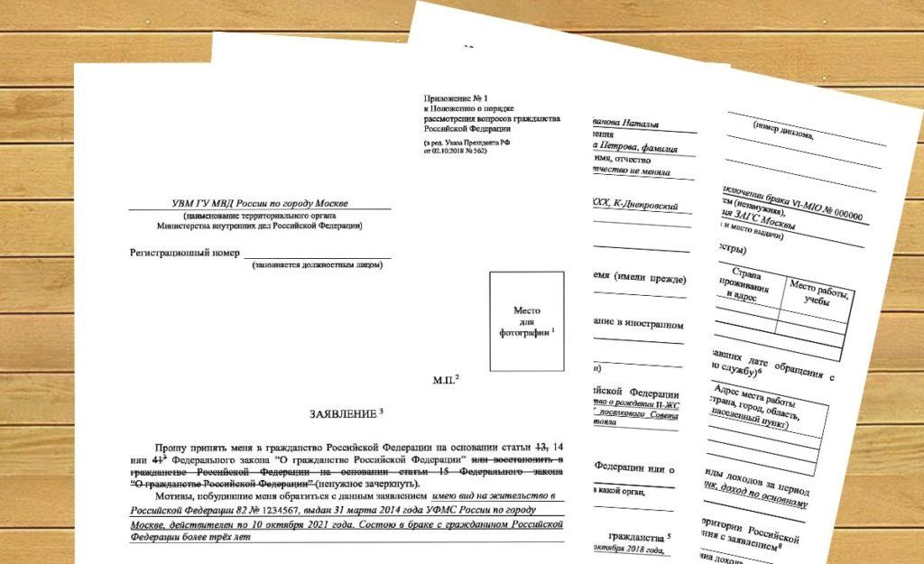 Написание заявки на гражданство